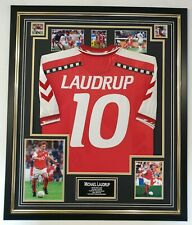 Denmark Michael Laudrup Signed Photo Autograph with Shirt Jersey Danmark Legend