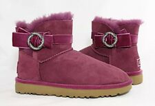 UGG Karlie Brooch Bougainvillea Purple Bow Bling Suede Fur Boots Size 7 New