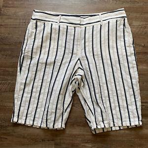 Ann Taylor Loft Linen Blend Bermuda Shorts Striped White Navy Tan NWT Size 14