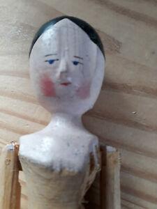 Antique carved wooden jointed peg doll, 10 inch, vintage