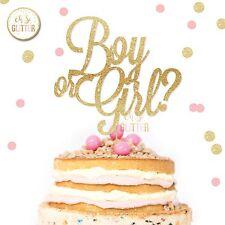 Gender Reveal Cake Topper, baby Shower Cake Topper Boy Or Girl Cake Glitter