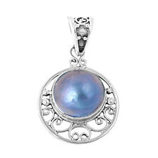 Mabe Pearl Pendant Sterling Silver 925 Created Stone Drop Jewelry Gift 22 mm