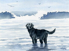 BLACK LAB AT THE BEACH  Watercolor 8 x 10 ART Print Signed by Artist DJR