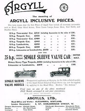 1911 Antique Vintage Argyll Single Sleeve Valve Automobile Car Art Print Ad