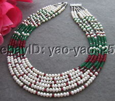 N130702   6strds White Pearl Jade Necklace