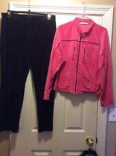 TOMMY HILFIGER WOMENS SZ XL velour track suit pink & black Excellent condition