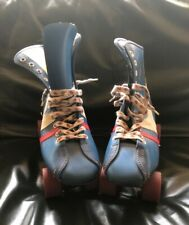 Vtg. Women's Fireball Official Roller Derby Skates Blue Size 6 Urethane Wheels