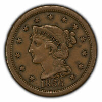 1856 1c Braided Hair Large Cent - Original XF Look - SKU-Z1355