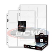 50 - 9 Pocket Card / Page Protectors BCW Pro9T Coupons - fits 3 ring binders