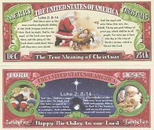 True Meaning of Christmas Million Dollar Bill Fake Play Funny Money Novelty Note