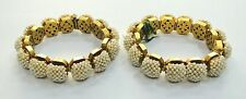 Rare! Vintage antique Collectible solid 22K Gold Jewelry Pearl Bracelet Bangles