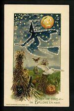 Halloween postcard Winsch 4.1-4 Artist Schmucker Witch JOL black cat owl RARE!
