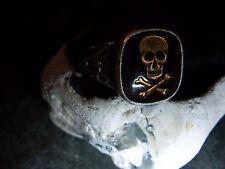 Patriottico pirati Hussar teschio anello rosso la Pasta pietra 830er-.