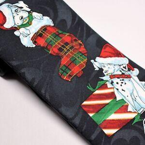 Surrey Black Print Dalmations Christmas Tie Polyester Novelty Puppy Necktie