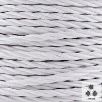 Textilkabel, Stoffkabel, Farbe Weis 3 adrig 3 x 1,5 ²mm verseilt (Meterware)