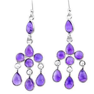 9.44cts Natural Purple Amethyst 925 Sterling Silver Chandelier Earrings T12329