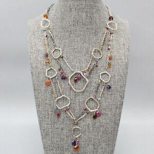 "Sterling Silver Multi Strand & Gemstone Dangle Boho Choker Bib 14"" Necklace"