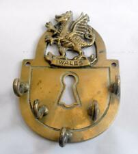 Vintage brass shield shaped key holder Wales with dragon wall hanging 11398