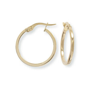 Jewelco London Ladies 9ct Yellow Gold 1.5mm Square Tube Round Hoop Earrings 20mm