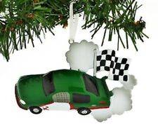 Child Race Car Green Personalized Christmas Tree Ornament