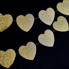 Gold Glitter Heart Shaped Paper Garland Banner (10FT)