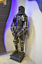 Suit Of Armor Templar Chain Mail Medieval Knight Armour Stand Full Black Body