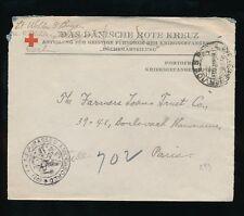 FRANCE MILITARY 1918 DANISH RED CROSS ENVELOPE + USA CENSOR