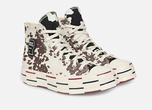 NEW Size 10.5 Converse x Brain Dead Chuck 70 Cow Print Hi Black Brown White Mens
