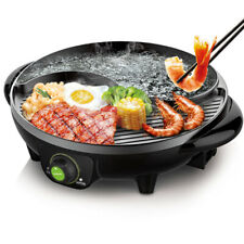 LIVEN Black Electric Hot Pot with Grill Non-Stick and Coating Electric Shabu Pot