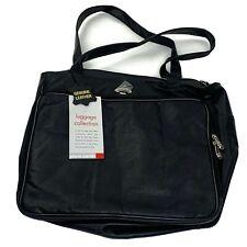 Pierre Cardin Mens Briefcase Leather Black Luggage Bag Organizer W/ Accessories