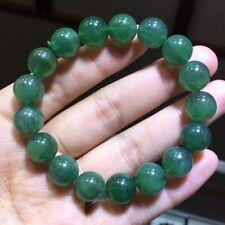 11.7mm Rare Natural Green Rabbit Hair Quartz Crystal Round Beads Bracelet AAAA