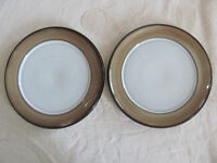 Denby /Langley Country Cuisine-Tan Rim Brown Trim - Set of 2 Salad Plates