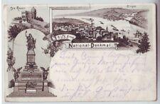 Litho Gruss vom Nationaldenkmal   Niederwald 1896  Bingen