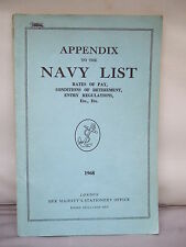 Appendix to Navy List 1968 - Retirement, Rates of Pay etc