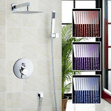 "LED Bathroom Wall Mounted 8""Square Bath Rain Shower Set Faucet Mixer Tap -Chrome"