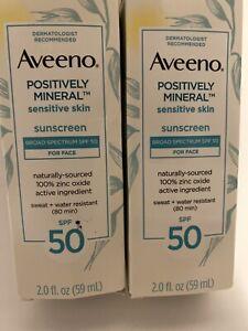 2 Aveeno POSITIVELY MINERAL 2oz Sensitive Skin SPF 50 Sunscreen FACE Exp 11/2021