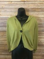 Cabi Cropped Hooded Cardigan Sweater Size Medium Womens Green 3/4 Sleeve Top