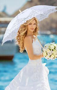 Retro Stil Spitzenschirm Hochzeitsfest Braut höhlen heraus Sonnenschirm Aus DE