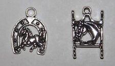 Horse Charms Lot of 2 - Western/Saddleseat Bit Horsehead Horse Horseshoe