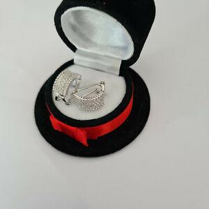 Stunning pave set Diamond hoop earrings in sterling silver