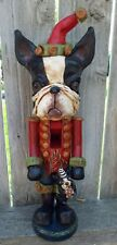 New Folk Art Boston Terrier Dog Nutcracker Soldier Vintage Nostlagic Style