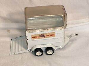 Vintage pressed steel TONKA STABLES Horse TRAILER + clear DOME Great Shape!!