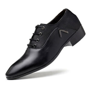 Men's Lace Up Shoes Block Heel Business Oxfords With Faux Leather Pointed Toe