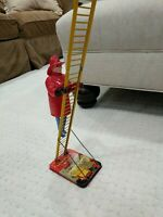 Vintage Original Marx Wind-Up Climbing Ladder Fireman Tin Toy Works