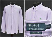 Mens Polo Ralph Lauren Striped Shirt Long Sleeve Slim Fit Purple Size XXL / 2XL
