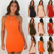 UK Womens Summer Ribbed Bodycon Mini Dress Ladies Strappy Clubwear Party Dress