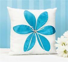 New Aqua Turquoise Satin Flower Blossom Wedding Ring Bearer Pillow