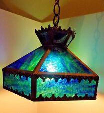 Vintage Mid Century Art DECO Caramel Slag Glass Hanging Light