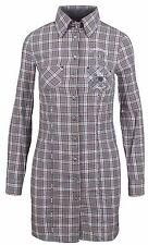 L' ARGENTINA Damen Longbluse Bluse Lang Shirt Polo Größe 38 M Kariert Baumwolle