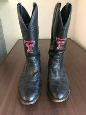 Texas Tech Nocona Full Quill Ostrich Cowboy Boots Size 11D Black